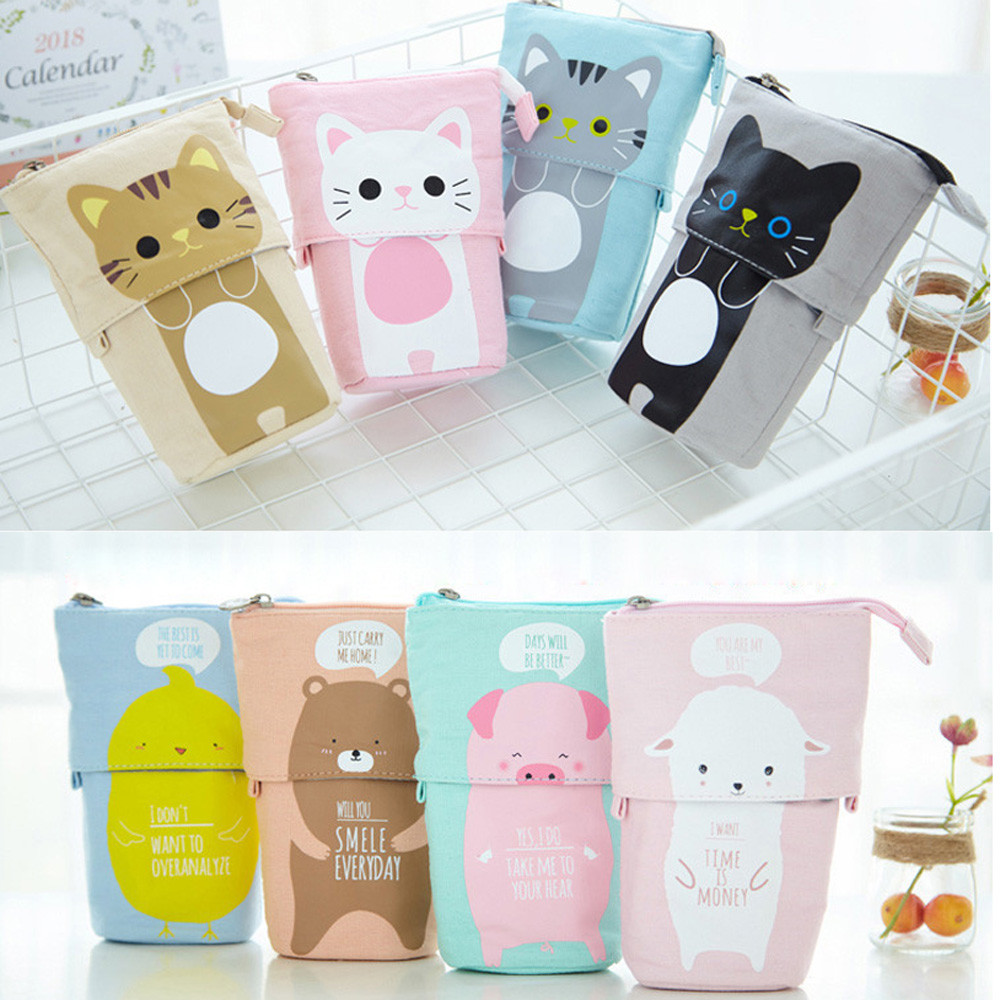 1PC Store Pencil Case Box Cartoon Cute Cat Telescopic Pencil Bag Stationery Box Girls School Office Supplies