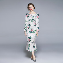 Zuoman feminino primavera & outono elegante trompete vestido festa de alta qualidade longo floral robe femme vintage designer vestidos