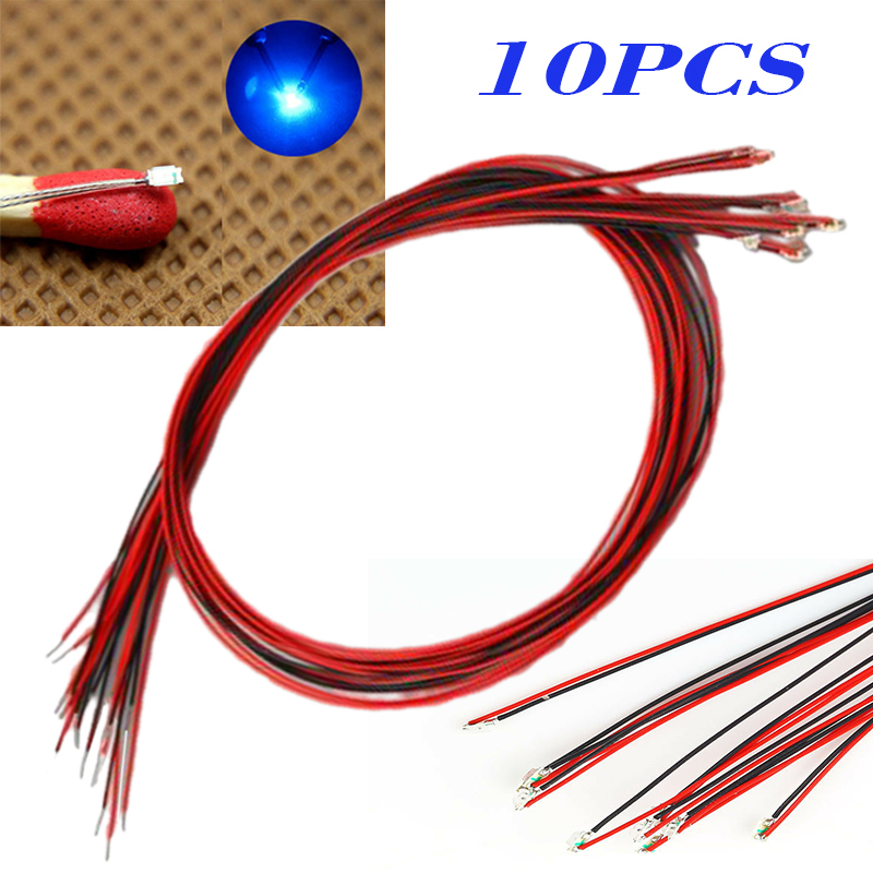 10pcs/set New T0603WM Pre-soldered Micro Litz Wired Leads Blue SMD Led 200mm Long Durable Lighting Accessories