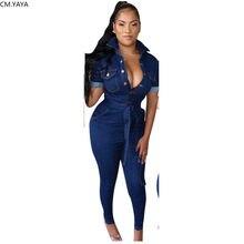 GL – combinaison en jean pour femmes, manches longues, ceinture, moulante, Sexy, boîte de nuit, combinaison, W8219
