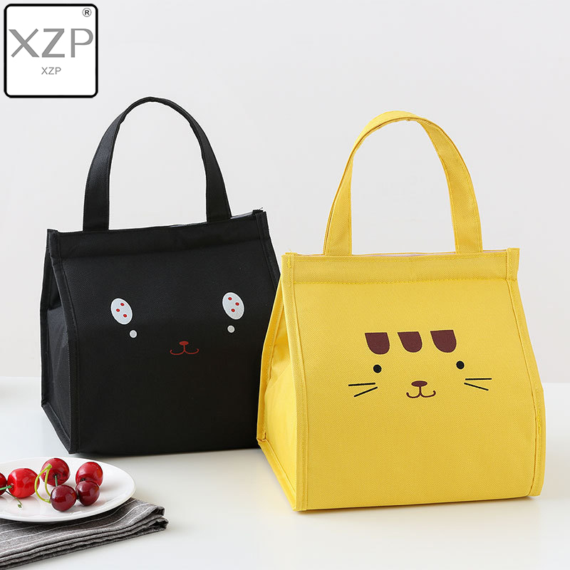 XZP Women Cartoon Cat Insulated Lunch Bag Canvas Thermal Food Picnic Bags For Girl Kids Travel Lunch Box Bags Tote