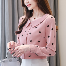 Autumn Fashion Women Blouses Elegant Print Shirt Plus Size Long Sleeve Chiffon Blouse Womens Tops and