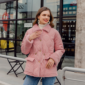 Simplee Causal solid white autumn winter women parkas Warm stand collar long sleeve female jacket High street Down Jackets 2020 9