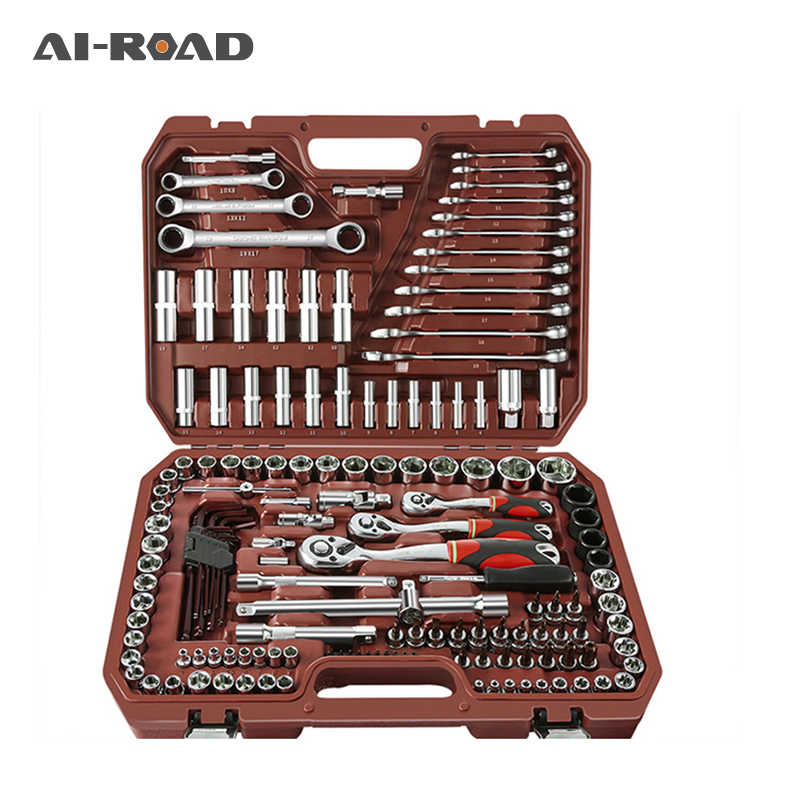 46pcs/set Carbon Steel Combination Set Wrench Socket Spanner Screwdriver Household Motorcycle Car Repair Tool Hardware Set Kits