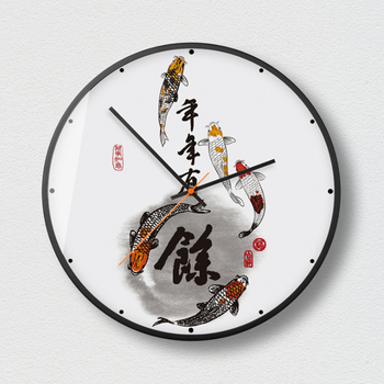 New 12 Inch Chinese Style Silent Clock Simple Personality Wall Clock Modern Design Living Room Clock Metal Retro Wall Charts