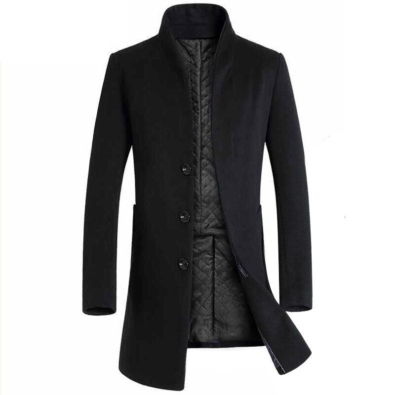 Men's Medium And Long Windbreaker Trimming Coat, Men's Woolen Coat, Windbreaker Coat, Men's Black Windbreaker, Gray Windbreaker