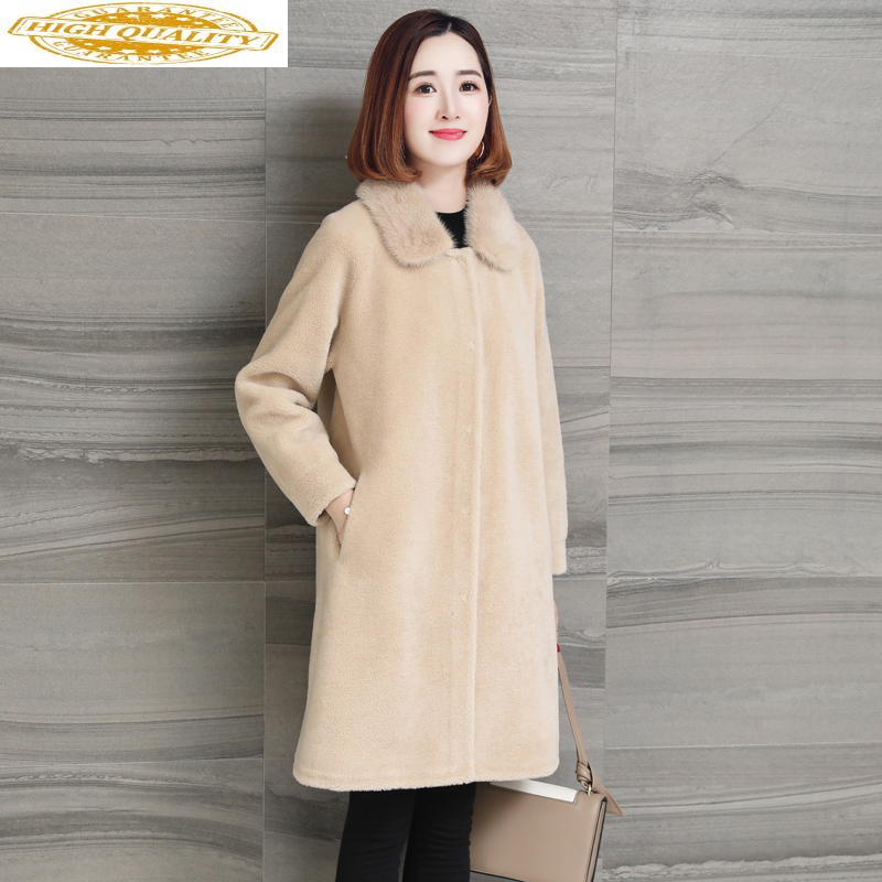 Real Fur Coat Women Clothes 2019 Winter Jacket Mink Fur Collar Korean Long Wool Coats Ladies Manteau Femme Hiver KJ1009