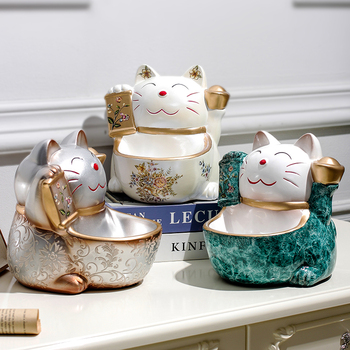Creative ceramic lucky cat decoration home living room porch European style key storage tray cash register desktop gift  LB41019