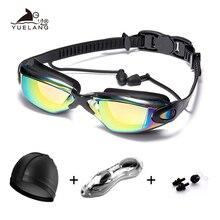 цена на Professional Swimming Goggles set очки для плавания swimming glasses with earplugs Nose clip Electroplate Waterproof Silicone