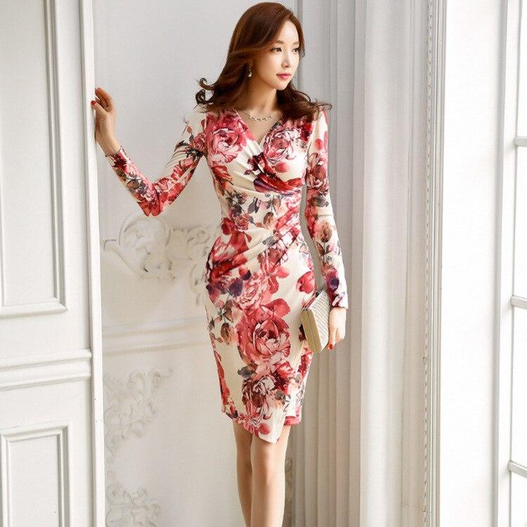 Autumn Clothing New Style Debutante Elegant Shirred V-neck Fashion Printed Slim Fit Sheath Dress Women's