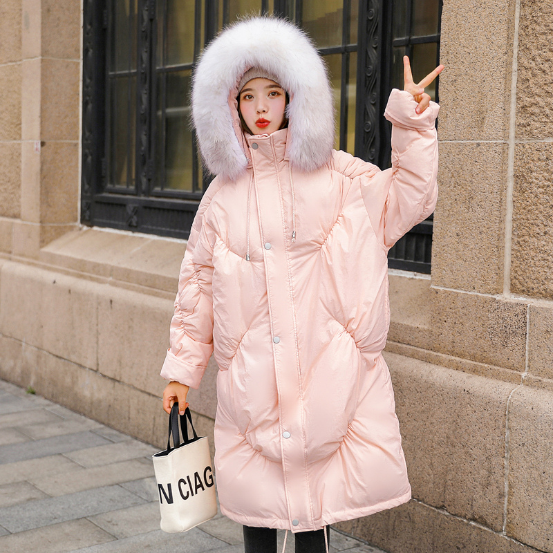 Winter thick warm fluffy bread style white duck   down     coat   female fashion casual oversied hooded warm   down   parkas   coats   F337