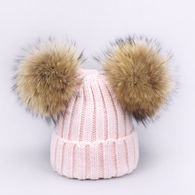 Women Fashion Winter Soft Knit Double Fur Pom Beanie Real Hat Wool Snow Bobble Cap Pompom Beanies Gorros