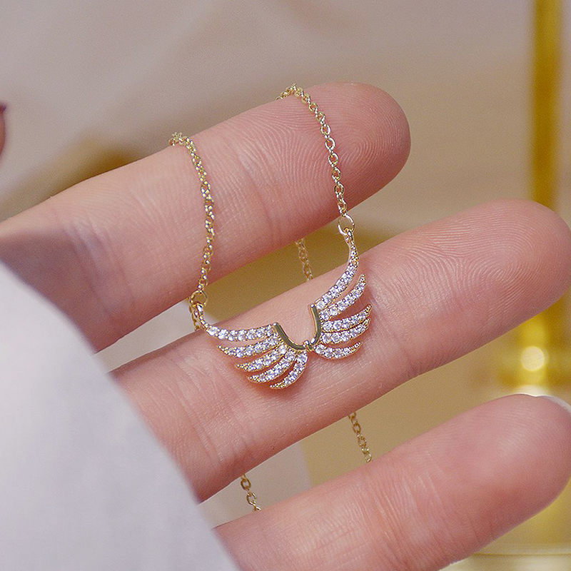 14k Real Gold Exquisite simplicity Angel Wings Necklace Charm Short Design Clavicle Zircon Women Kolye Birthday Gift Pendant