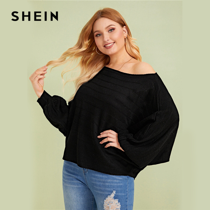 SHEIN Plus Size Black Asymmetrical Neck Drop Shoulder Oversized Sweater Pullover Women Autumn Batwing Sleeve Casual Sweaters 2