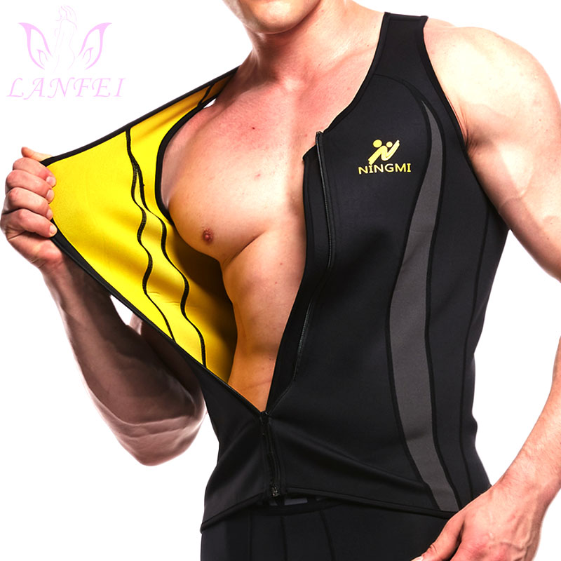 LANFEI Waist Trainer Slimming Shirt Men Hot Neoprene Fat Burn Vest Compression Body Shaper Sauna Gym Sweat Tank Top With Zipper