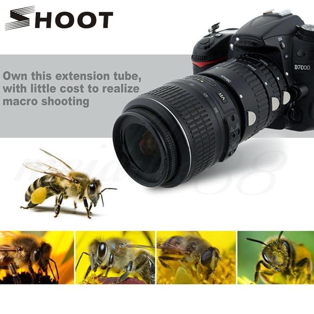 SHOOT Auto Focus Macro Extension Tube Ring Set for Nikon D3200 D3300 D5600 D7100 D5300 D7200 D7500 D3100 D90 D5100 D5500 D4 DSLR