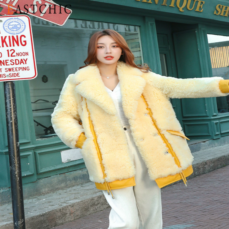 Natural Real Fur Coat Female Vintage Winter Clothes 2020 Korean 100% Wool Jacket Women Korean Double Faced Fur Tops Overcoat 102