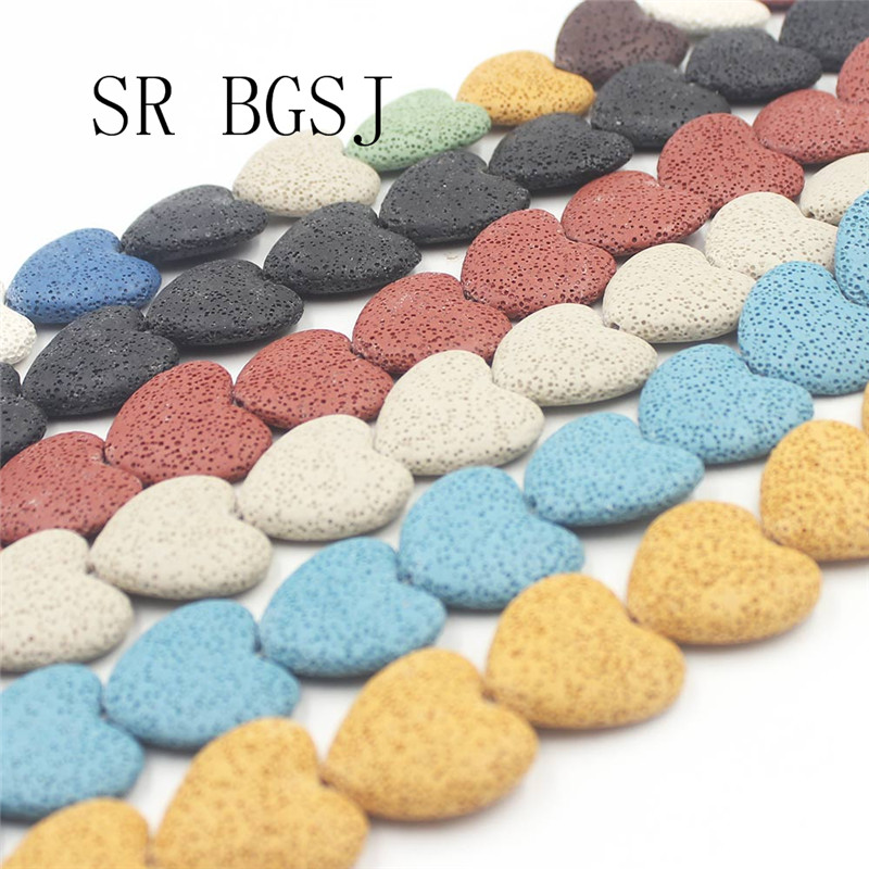 Free Shipping SR 27mm Select by Color Flat Heart Beads Volcanic Rock Lava Big Gemstone Beads 15inch(China)