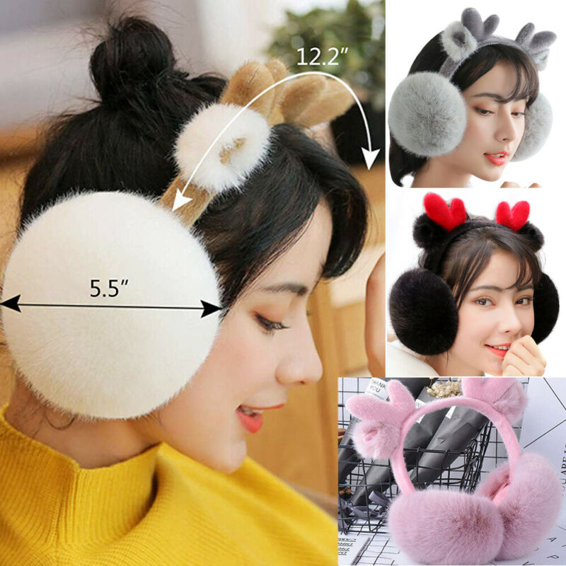 Cute Girl Luxury Soft Furry Earmuff Winter Fashion Elk Flodable Solid Color Warmer EarMuffs