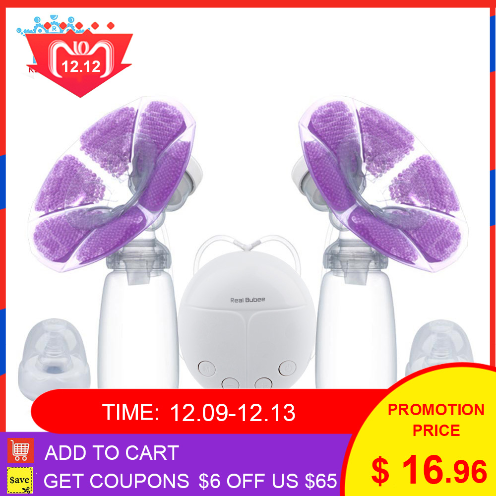Real Bubee Single/Double Electric Breast Pump With Milk Bottle Cold Heat Pad BPA Free Powerful Breast Pumps Baby Breast Feeding