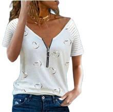Women Tshirt V-neck Zipper Stripe Loose Casual T Shirts Spring Summer Plus Size Sexy Tops Tee Shirt