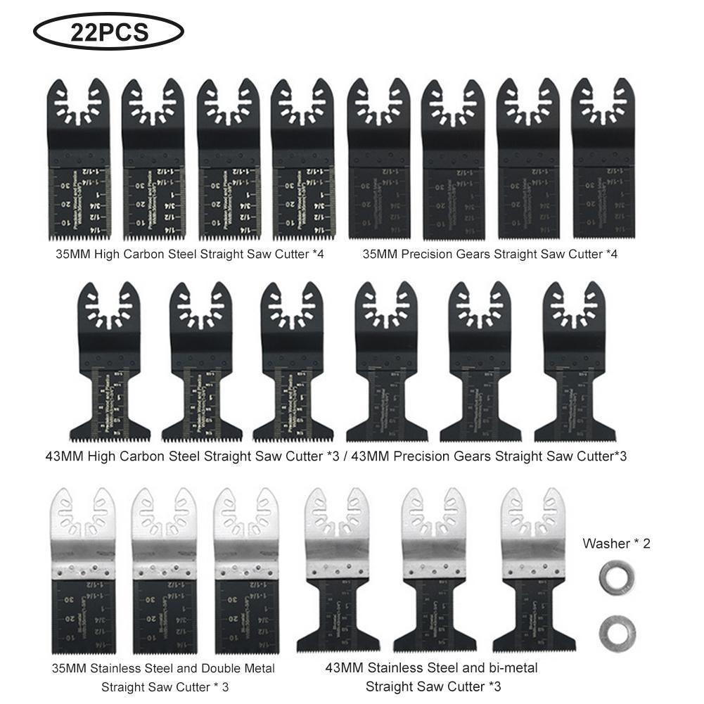 22 Piece Starlock E-cut Multi Cutter Saw Blades Set Oscillating Tool Blades For Cutting Wood Drywall Plastics Soft Metal