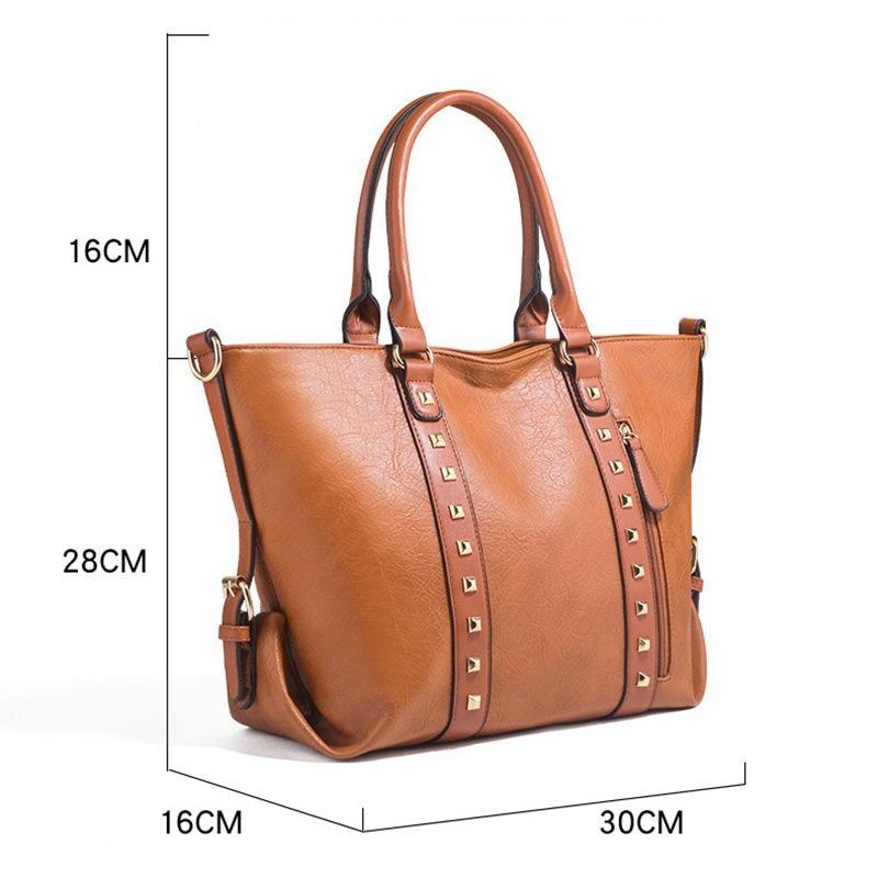 DIINOVIVO Panelled Rivet Design Bag Women Shoulder Bag Large Capacity Handbags Women Totes Fashion Messenger Bag Women WHDV1235 in Top Handle Bags from Luggage Bags