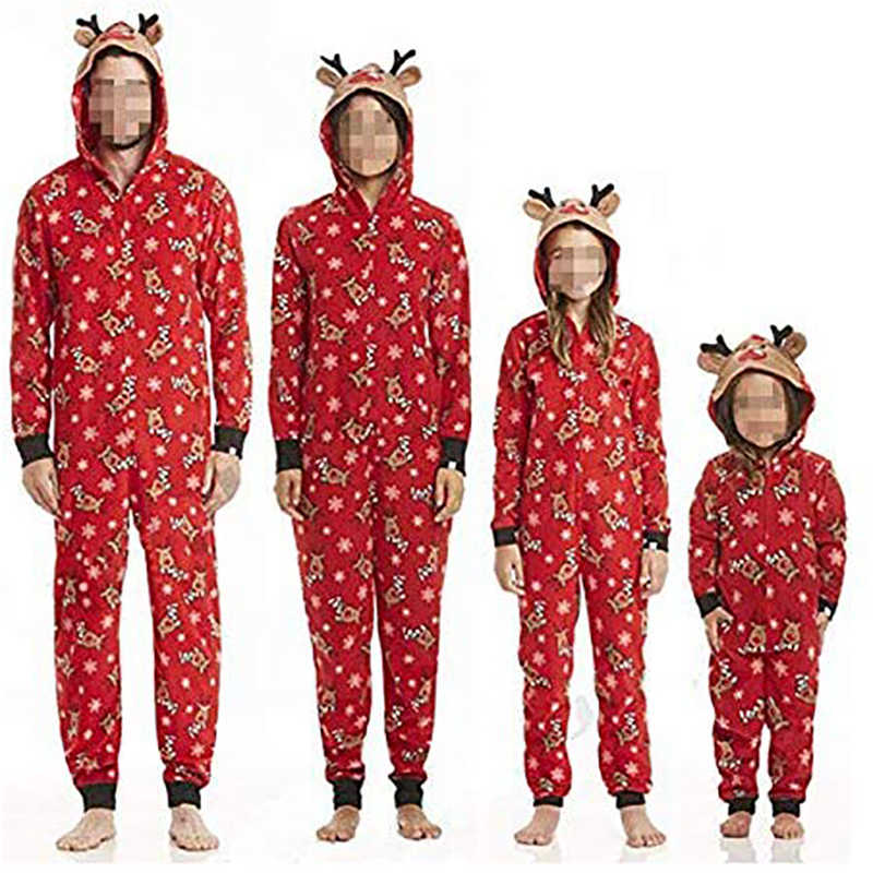 Christmas Pajamas Onesis Family Matching Sleepwear Jumpsuit Women Kids Deer Nightwear Zipper Hooded Rompers Winter Warm Onsies