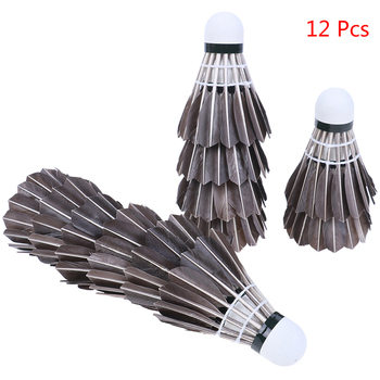 12 Uds conjunto Durable bádminton negro bolas formación pluma de ganso volantes