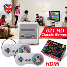Super snes vídeo game console com 621 retro clássico jogos hd saída família tv 8 bit 2 mini handheld game player gamepad