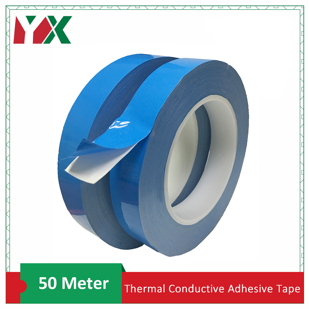 YX 50m/Roll Double Sided Transfer Tape Double Side Thermal Conductive Adhesive Tape For Chip PCB LED Strip Heatsink 2PCS