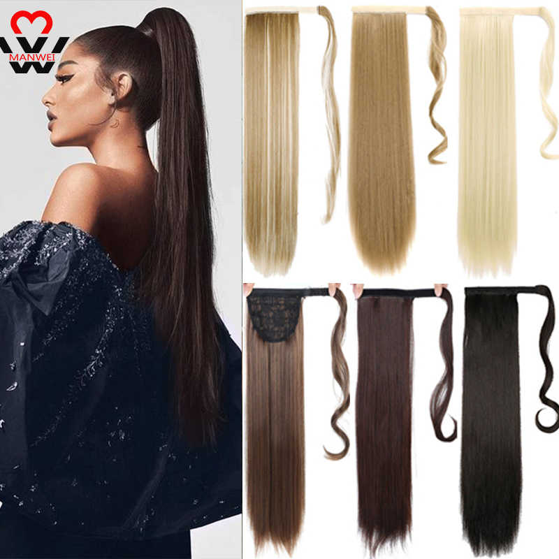 MANWEI24inches Longstraight Clip Inhair Staart Valse Haar Paardenstaart Haarstukje Met Haarspelden Synthetisch Haar Pony Tail Hair Extension