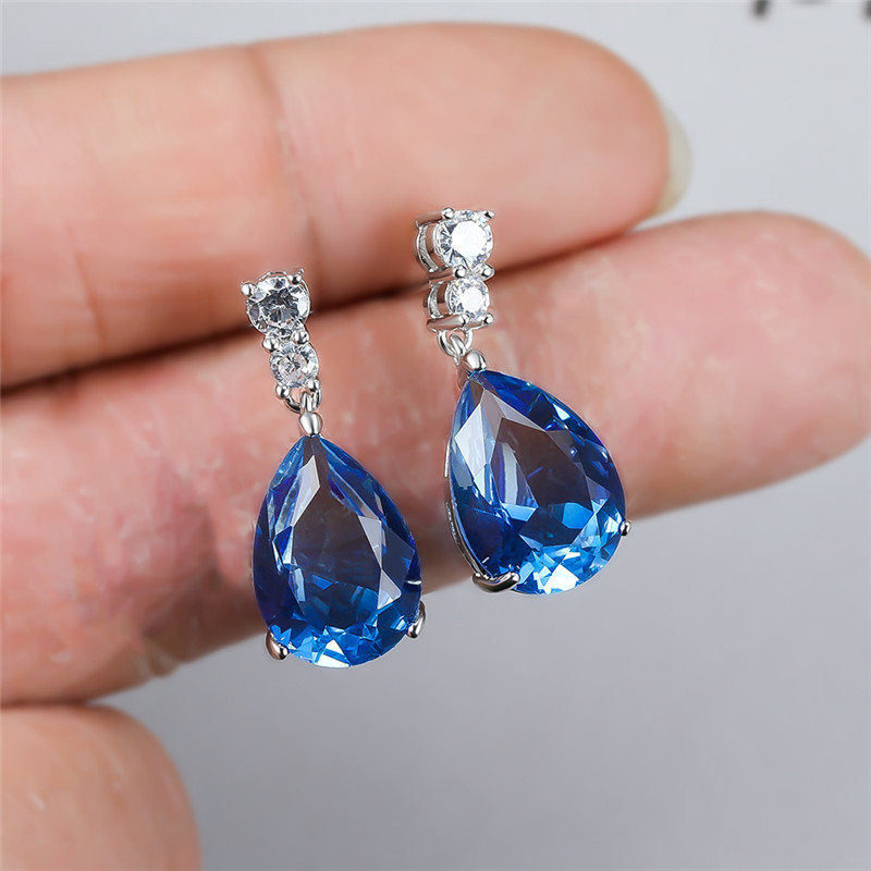 Water Drop Blue Green Zircon Rainbow Stone Earrings For Women Wedding Jewelry Dainty Multicolor Crystal Teardrop Dangle Earrings
