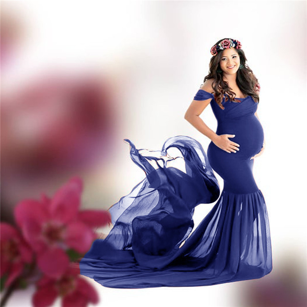 Long Maternity Photography Props Pregnancy Dress For Photo Shooting Off Shoulder Pregnant Dresses For Women Maxi Maternity Gown (3)