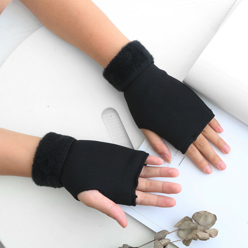 1 Pair 6 Color Winter Gloves Soft Half Fingerless Gloves Women Men Warm Knitted Mittens Couple Winter