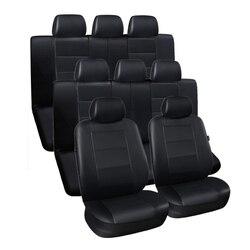 3 ряда сидений автомобиля Искусственная кожа роскошный защитный чехол для сиденья машины черный для микроавтобуса внедорожник