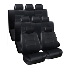 3 Row Car Seat Covers Faux Leather Luxury Car Seat Protector Black for Minivan SUV