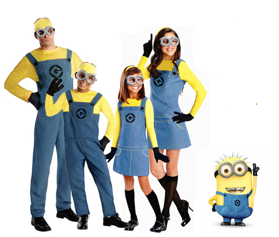 Minion Clothes Jumpsuit Despicable Me Cosplay Costumes Suits Boys/Girls Kids/adult Clothes With Glasses Christmas Halloween Gift