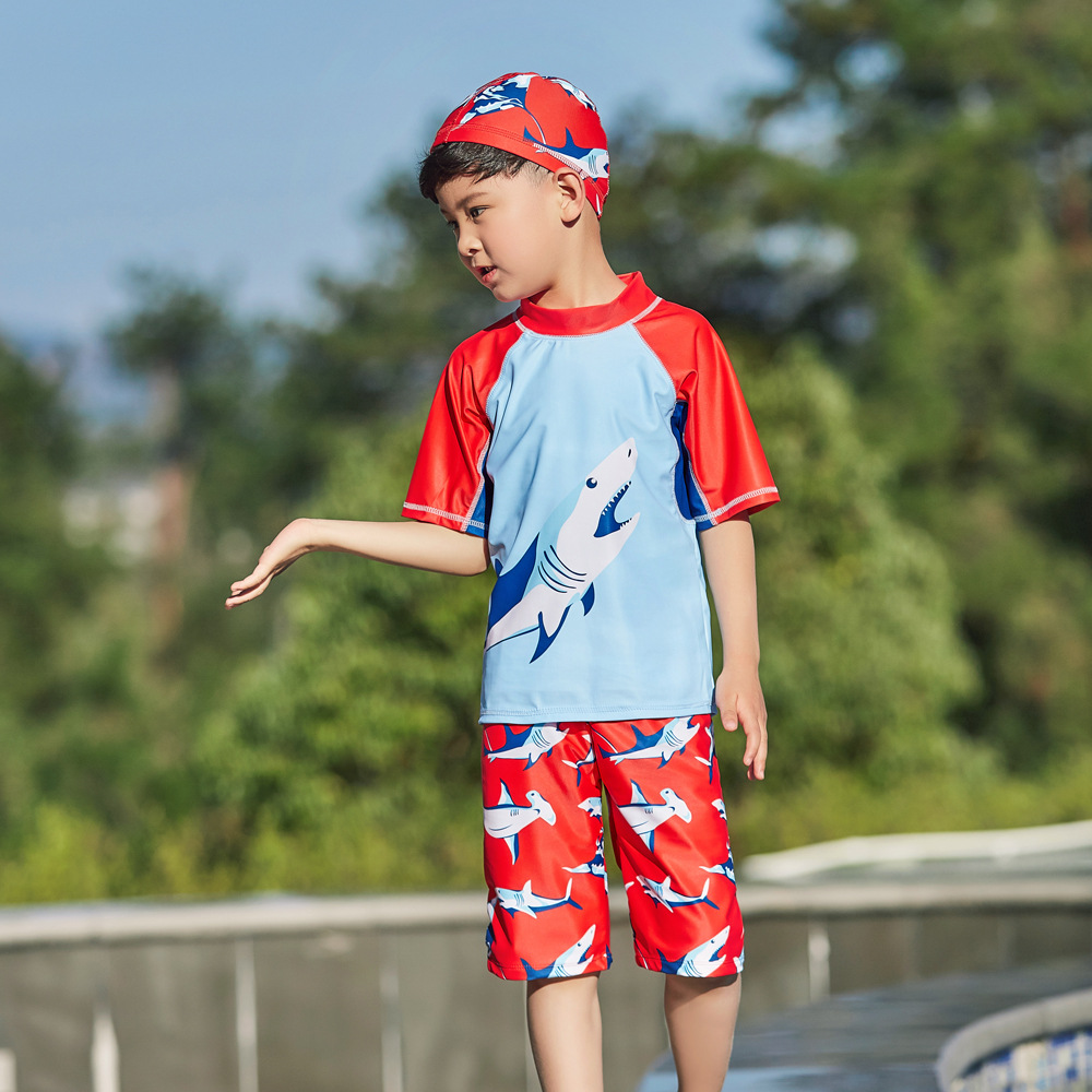 2019 Repair-Hot Sales Split Type Tour Bathing Suit Short Sleeve Shorts Hot Springs Cartoon Shark Stand Collar BOY'S KID'S Swimwe