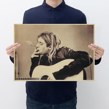 VINTAGE Kurt Cobain Nirvana Frontman ROCKโปสเตอร์ตกแต่งบ้านบาร์Retroกระดาษคราฟท์สติ๊กเกอร์ติดผนัง 51x35cm