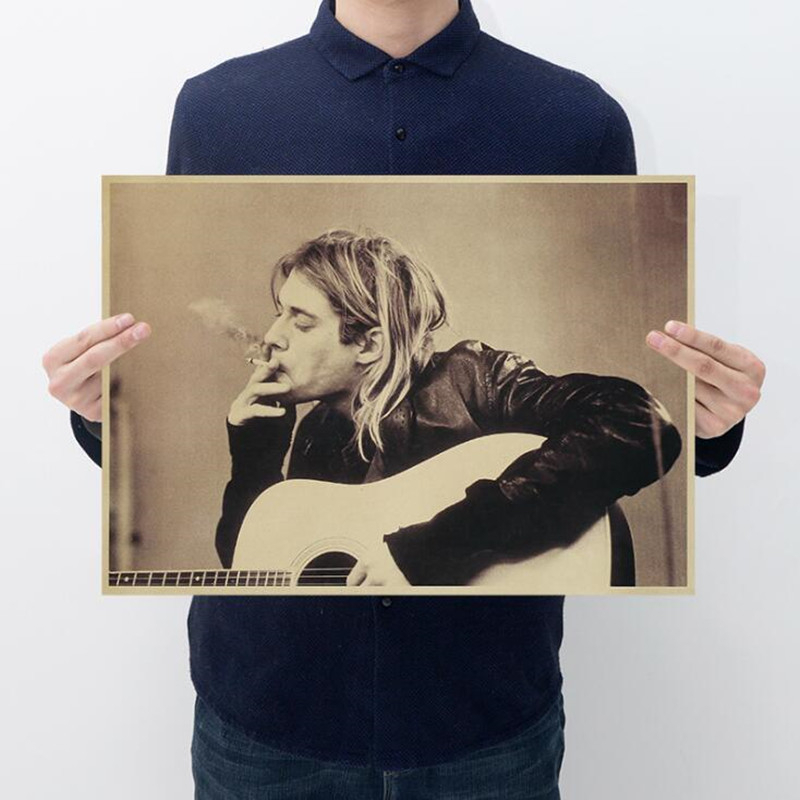 Vintage Kurt Cobain Nirvana Frontman Rock Poster Home Decor Bar Retro Kraft Paper Wall Sticker 51x35cm