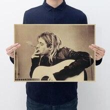 Vintage Kurt Cobain Nirvana Frontman Rock Poster Home Decor Bar Retro Kraft Paper Wall Sticker 51x35cm