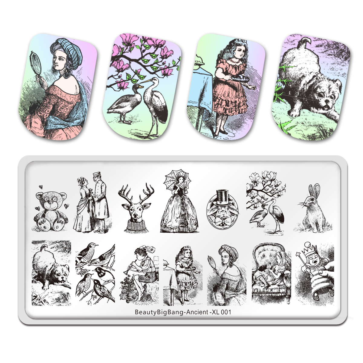 BeautyBigbang Ancient Style Nail Stamping Plates New Animals Bear Character Design Fairy Tales Nail Art Stamps Template XL-001