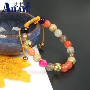 Image 4 - Ailatu New Bracelets for Women Mix Natural Stones Braiding Bracelet Cz Jewelry Stainless Steel Logo Beads Top Quality