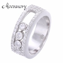 Moonmory Anillo de boda de piedra móvil para mujer, joyería de gran oferta de Francia, anillo para amante de piedra Move de Plata de Ley 925
