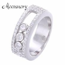 Moonmory Sieraden Beweegbare Stone Wedding Ring Voor Vrouwen Frankrijk Hot Koop 925 Sterling Zilver Bewegen Steen Ring Voor Lover Best gift