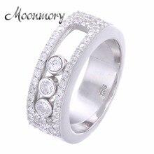 Moonmory biżuteria ruchomy kamień obrączka dla kobiet francja gorąca sprzedaż 925 Sterling Silver Move kamienny pierścień dla kochanka najlepszy prezent