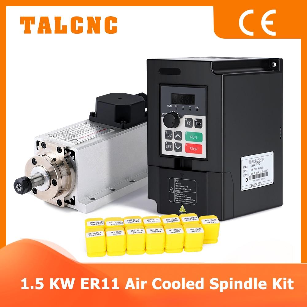 220 кВт шпиндель с ЧПУ 110 в/в кВт фрезерный квадратный шпиндель с воздушным охлаждением с фланцем + квт Инвертор VFD + 13 шт. ER11