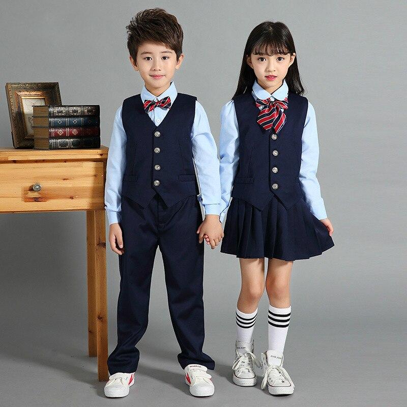 Kindergarten Uniform Primary School Uniforms British Style Children's College Wind School Uniform Three-piece Suit
