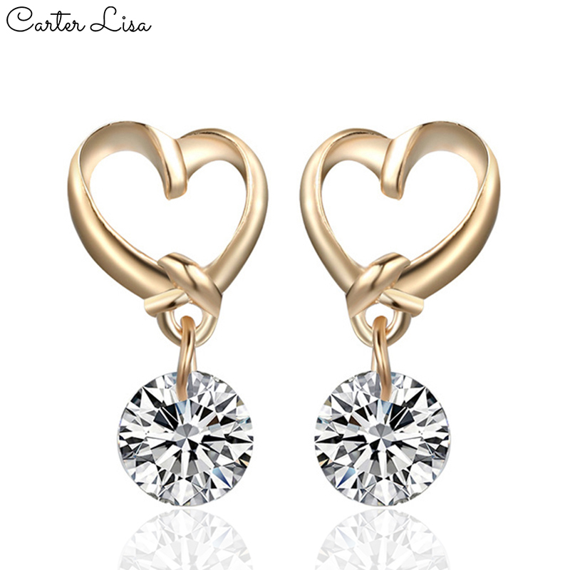 CARTER LISA 2019 New Fashion Statement Heart Dangle Earrings Elegant Crystal Drop Earrings For Women Wedding Charm Ear Jewelry